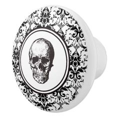 #HALLOWEEN Black & White Damask Pattern Skull Ceramic Knob - #Halloween #happyhalloween #festival #party #holiday