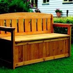 Patio storage bench plans Patio storage bench plans Once you ve installed a patio or the next order of business is furniture You start with the essentials Table and chairs ar Patio Storage Bench, Garden Tool Storage, Bench With Storage, Pool Storage, Porch Bench, Seat Storage, Storage Sheds, Outdoor Storage, Kitchen Storage