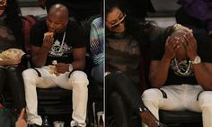 Floyd Mayweather enjoys fast food as he watched the Lakers beat Detroit Pistons - http://www.sportsrageous.com/entertainment/floyd-mayweather-enjoys-fast-food-as-he-watched-the-lakers-beat-detroit-pistons/1114/