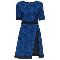 'Beloved Blue Stunner' Asymmetric Black and Blue Jacquard Dress