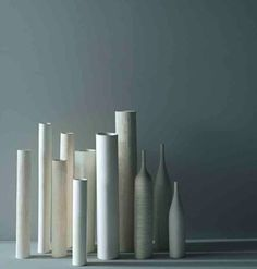 Ceramics  : Porro Italy  13 white vase collection love the composition of this grouping