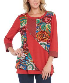 Love this Red Medallion Scoop Neck Top by Nouveau Monde on #zulily! #zulilyfinds