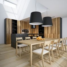 inspiring-ultra-modern-kitchen-design-ideas-also-oversize-drum-pendants-and-large-dining-room-table-with-wood-side-chair-as-well-as-orange-fruits-laminate-flooring