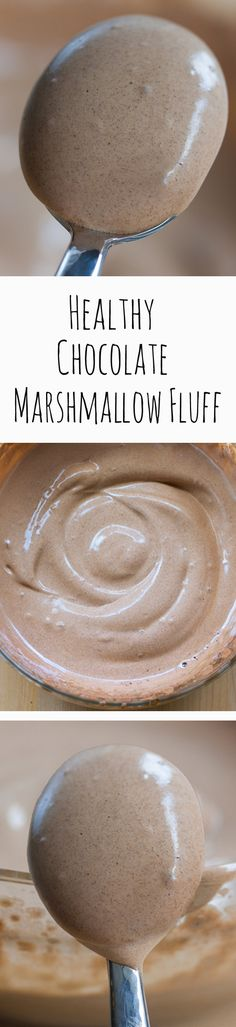 Chocolate Marshmallow Fluff with NO corn syrup and no unhealthy chemicals or powdered sugar and no raw eggs! It's vegan Vegan Sweets, Healthy Sweets, Vegan Desserts, Just Desserts, Delicious Desserts, Dessert Recipes, Yummy Food, Paleo Dessert, Healthy Drinks
