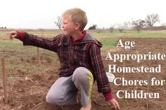 The featured article provides a list of what the author feels is age appropriate for a child on the homestead by age.