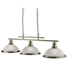 Searchlight Bistro 3 Light Industrial Ceiling Bar, Antique Brass Finish With Marble Glass Shade - - Pendant Lights - Bar Pendant Lights Island Pendant Lights, 3 Light Pendant, Pendant Light Fixtures, Ceiling Pendant, Light Fittings, Pendant Lighting, Cocina Art Deco, Art Deco Kitchen, Kitchen Ideas