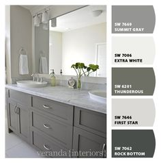 Instantly turn any picture into a palette with ColorSnap, created for you by Sherwin-Williams. Grey Bathroom Cabinets, Light Gray Cabinets, Grey Cupboards, Painting Bathroom Cabinets, Grey Bathrooms, Basement Bathroom, Grey Painted Kitchen Cabinets, Bathroom Ideas, Bathroom Vanities