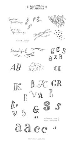 sketchbook font doodles. so sweet.