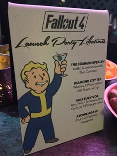Wasteland Bar Rescue, Fallout A few hours ago, I left the site of Bethesda's Fallout 4 launch party with a temporary case of tinnitus (thanks, Calvin Harris! Fallout Theme, Fallout Art, Fallout Tips, Drinks Alcohol Recipes, Alcoholic Drinks, Cocktails, Gamers Anime, Calvin Harris, Launch Party