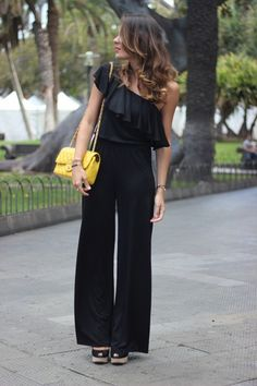 black one shoulder, accentuated butterfly sleeves jumpsuit with ruffles