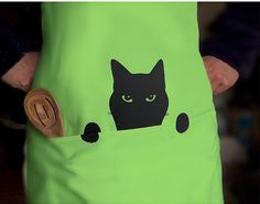 Cat Apron, Peeping Tom Cat Chef's Kitchen Pinny from ODE, Handmade by Jolyon Yates by DaWanda.com