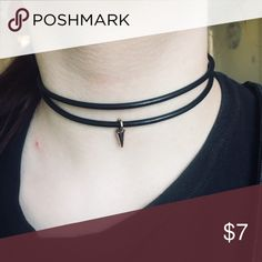 Double Strap Choker This is one choker but has the appearance of wearing two. Has a small triangular gold jewel attached Jewelry Necklaces