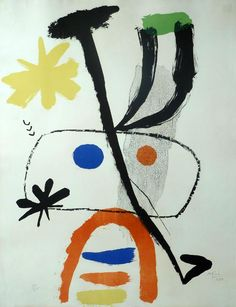 JOAN MIRO H.Signed Lithograph Surrealism 1950