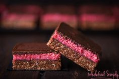 Quick and Easy Choc Raspberry Slice. Simple, delicious and free from gluten, grains, dairy, egg and refined sugar. I hope you enjoy it as much as we do. Vegan Sweets, Healthy Sweets, Healthy Dessert Recipes, Raw Food Recipes, Paleo Treats, Simply Recipes, Sweet Recipes, Coconut Slice, Coconut Oil