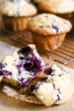 Blueberry Yogurt Muffin by Yoshiko Sullivan Cute Desserts, Sweets Recipes, Brownie Recipes, Chocolate Desserts, No Bake Desserts, Baking Recipes, Delicious Desserts, Blueberry Yogurt Muffins, Blueberry Recipes