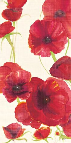 Red and Orange Poppies II Crop II  - 12x24 by