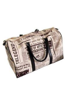 Newspaper Print Oversized Handbag OASAP.com