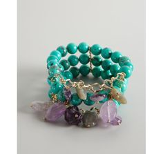 Jardin turquoise and amethyst triple stretch beaded bracelet | BLUEFLY up to 70% off designer brands