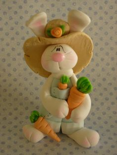 Bunny Carrot Farmer by ClayBabiesInc on Etsy, $19.95