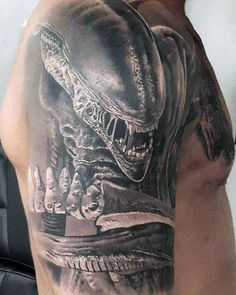 Witness extraterrestrial life forms from outer space with the best alien tattoo designs for men. Explore cool ink ideas from beyond this world. Dark Art Tattoo, Inkbox Tattoo, Owl Tattoos, Fish Tattoos, Tatoos, Alien Tattoo Xenomorph, Giger Tattoo, Predator Tattoo, Alien Film