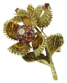 Tiffany & Co. Vintage Tiffany & Co Brooch 18kt Yellow Gold Ruby & Diamond Opening Pin Flower Jewelry $8,035