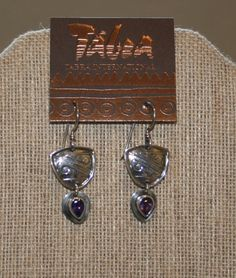 Tabra Ethnic Embossed Sterling Silver Earrings with Amethyst plus Free USA…