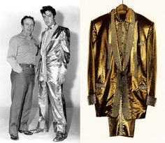 "Nudie created the famous gold lamé suit for Elvis Presley in 1957, which was featured on the cover of his album ""50,000,000 Elvis Fans Can't Be Wrong."""