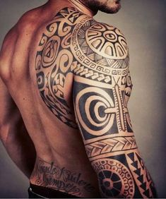 Polynesian Sleeve Tattoo Design #marquesantattoossymbols