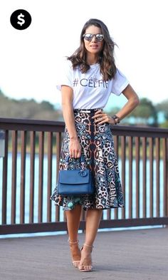 White Skirt + Animal Print ---Camila Coelho