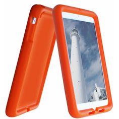 Bobj Rugged Case for iPad Mini - BobjGear protective cover - Outrageous Orange. It has a grippy texture so will not slip out of child's hand easily. Washes with mild soap and water.