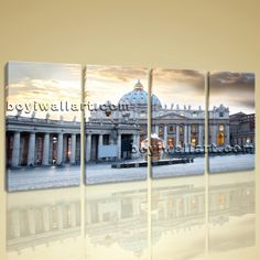 """Large Basilica Di San Pietro Cityscape Photography Canvas Print Wall Art BedRoom, Large Rome Wall Art, Bedroom, Slate Grey. Large Basilica Di San Pietro Cityscape Photography Canvas Print Wall Art BedRoom Subject : Rome Style : Photography Panels : 4 Detail Size : 14""""x28""""x4 Overall Size : 59""""x28"""" = 150cm x 71cm Medium : Giclee Print On Canvas Condition : Brand New Frames : Gallery wrapped [FEATURES] Lightweight and easy to hang. High revolution giclee artwork/photograph. Edges are staple..."""