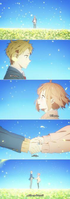 "kyoukai no kanata, mirai kuriyama, akihito, i'll be here | ""Will you stay with me forever ?"""