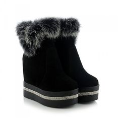 Plus Size 34-40 Fashion Suede Leather Snow Boots For Women Winter Fur Shoes Wedge High Heel Platform Ankle Women Boots