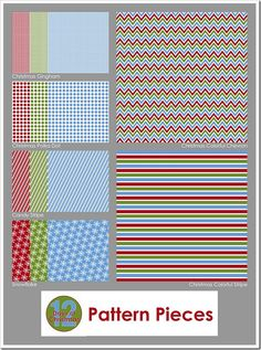 """Patterns - 4 patterns in 3 colorways each (red, green, blue) and 2 multi-colored patterns. Sized 10"""" x 10"""" each. Click on image in Post to Download. Free PDF Printables."""