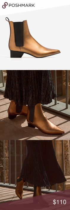 Uterqüe golden bronze Chelsea boots Chelsea boots from Uterqüe, Zara's luxury brand. Size is euro 39, but per Zara measuring should be closer to a US 8 rather than US 9. New in box. Comes with dust bag. Uterqüe Shoes Ankle Boots & Booties