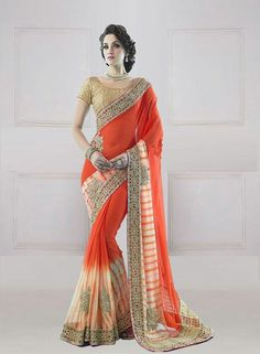 DESIGNER ORANGE GEORGETTE EMBROIDERED SAREE WITH BLOUSE