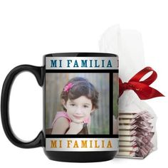 Mi Familia Mi Vida Mi Felicidad Mug, Black, with Ghirardelli Peppermint Bark, 15 oz, White