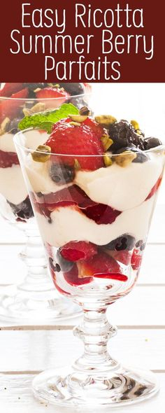 Ricotta and Summer Berry Parfaits – so simple and such a crowd pleaser. The perfect finish to a summer meal with friends, especially with Frigo® Ricotta Cheese. Recipes Using Ricotta Cheese, Recipe Using Ricotta, Ricotta Cheese Desserts, Ricotta Dessert, Parfait Desserts, Parfait Recipes, Yogurt Recipes, Summer Desserts, Easy Desserts