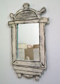 Ceramic Framed Mirror by Maria Kristofersson Cardboard Furniture, Cardboard Crafts, Ceramics Projects, Clay Projects, Ceramic Clay, Ceramic Pottery, Clay Art, Picture Frames, Inspiration