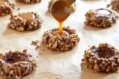Filling Chocolate Turtle Cookies with caramel