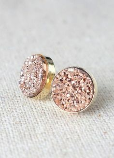 Rose Gold Earrings | Druzy Stud