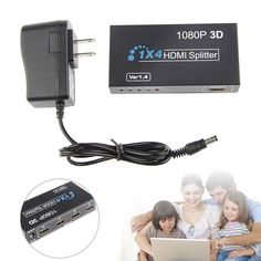HD HDMI Splitter 1X4 4 Port Hub Repeater Amplifier v1.4 3D 1080p 1 In 4 Out Box  #Unbranded