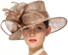 9bea0f93046 Church Kentucky Derby Carriage Tea Party Wedding Wide Brim Woman s Royal  Ascot Hat in Solid Sinamay