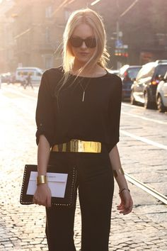 All black with stunning gold belt - I would go with a more understated belt but I love all black being broken up with some gold