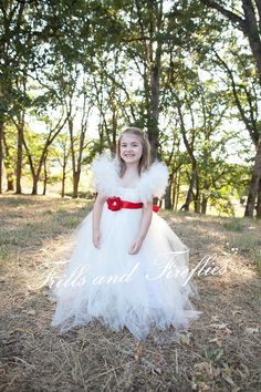 Flower girl dress in Ivory with Red Flower Sash an Flutter Sleeves  Weddings, Party Dress, Birthday, Formal Occasions Other Colors Available