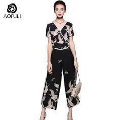 """4be7ec70c0e33 Arik on Instagram  """"S-5XL Japan Kimono Style Crane Print Suit Set Plus Size  Summer Pantsuit V-neck Tops Outfit Slit Wide Leg Pants Set Twinset 5618  Women s…"""
