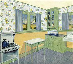 Retro Kitchen Ideas Vintage Art Deco New Ideas Cocina Shabby Chic, Shabby Chic Kitchen, Vintage Kitchen, 1940s Kitchen, Country Kitchen, Art Deco, Art Nouveau, 1920s Home Decor, Retro Home Decor