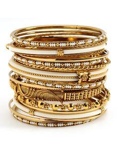 Adreena Bangle Set in Gold/White