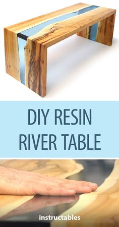 DIY Resin River Table Using Clear Epoxy Casting Resin and Wood #woodworking #furniture