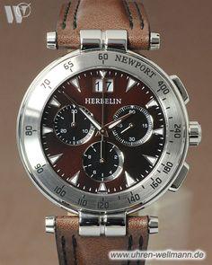 Michel Herbelin Newport 36657-48MA, Herrenuhr, Chronograph, Quarz, Stahlgehäuse, Lederarmband mit Faltschließe